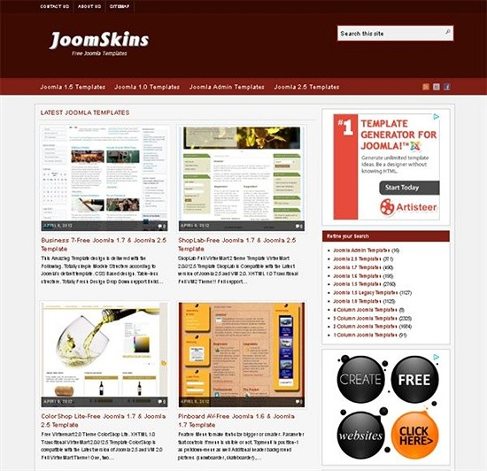 joomskins - download joomls templates